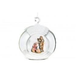 Kristallkugel mit Heilige Familie aus Ahornholz geschnitzt - Leicht mit Ölfarben lasiert
