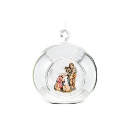 Palla di vetro con presepe di legno - colorato a olio