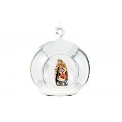 Palla di vetro con natività scolpita in legno d'acero - La misura della Sacra Famiglia è di 10 cm - colori ad olio