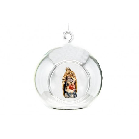 Bauble with Holy Family carved in maple wood - lightly colored with oil paint