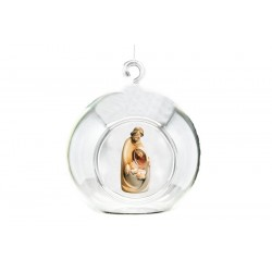 Crystal Ball with Holy Family carved in maple wood - Dolfi Wedding Gifts for Men - Made in Italy - oil colors