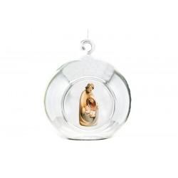 Palla di Cristallo con sacra famiglia scolpita in legno - Dolfi regalo laurea ragazza, Val Gardena - colori ad olio