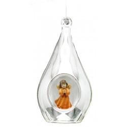 Goccia di vetro con angelo in legno - colorato a olio