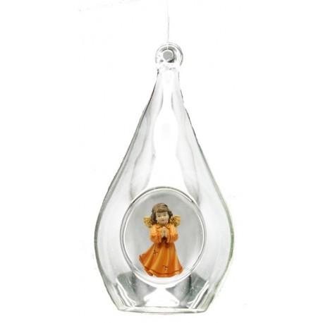Kristall mit Engel - Leicht mit Ölfarben lasiert