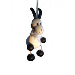 Ziege aus Holz Hüpferlen Schwingfigur Federtier Hüpftier - 12 cm - Dolfi Weihnachtsgeschenk für Eltern