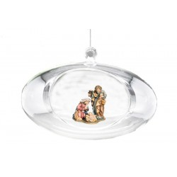 Oval Crystal Ball with Holy Family of the Matteo Crib carved in maple wood Christmas Gifts 2021 - oil colors