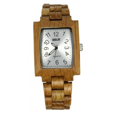 Orologio in legno con quadrante rettangolare, Calvin