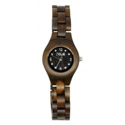 Wooden Watch for Woman in Nut wood and Swarovski – Arcadia Wooden Wrist Watch - Made in Italy
