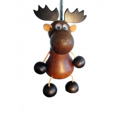 """Deer with spring wood carved animal 5"""" - Dolfi Birthday Gift for Husband - Made in Italy"""