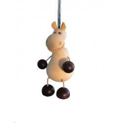 Animale in legno massello colorato con movimento a molla