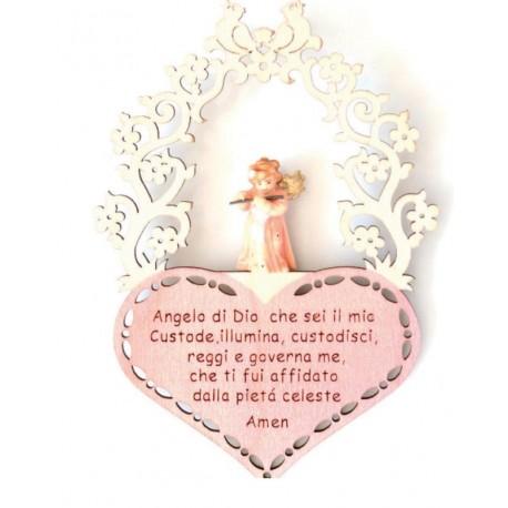 Angelo custode scolpito con preghierina incisa