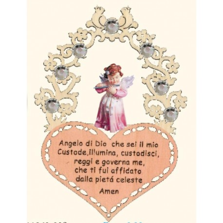 Guardian Angel with a Little Prayer Swarovski Vintage Wooden Christmas Ornaments - Made in Italy