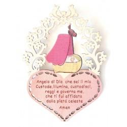 Preghierina incisa su cuore e culla