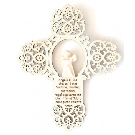 Angelo custode scolpito con preghierina su croce