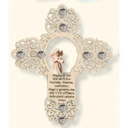 Kreuz Holz Engel und Gebet mit Swarovski