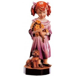 Carved wood Figure Girl with Flowers