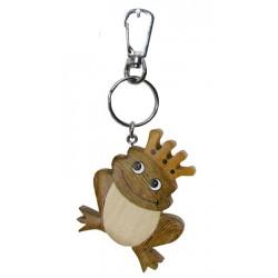 Frosch Prinz - Dolfi Holz Schlüsselanhänger, diese Holzfigur ist eine edle Grödner Schnitzerei