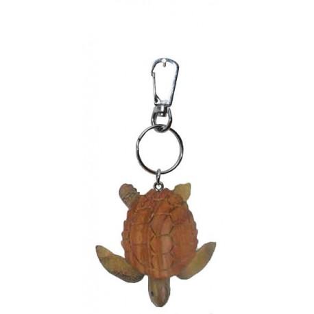 Portachiavi in legno massello multicolore tartaruga