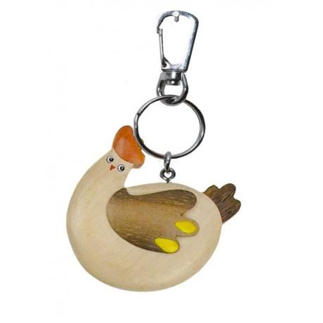 Portachiavi in legno massello multicolore gallina