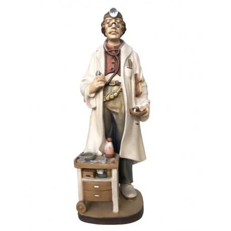 Medico scolpito in legno d'acero e dipinto a mano - colorato colori pastello