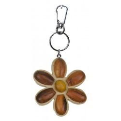 Portachiavi in legno massello multicolore fiore