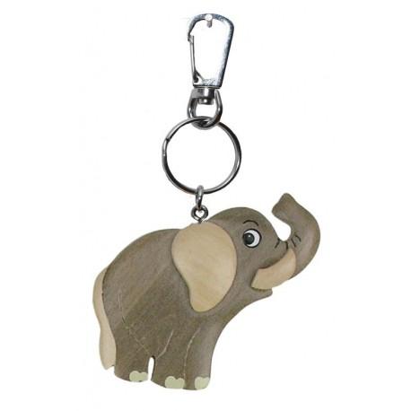 Portachiavi in legno massello multicolore elefante