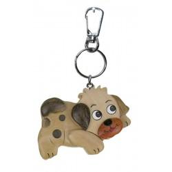 Hund, Dolfi Schlüsselanhänger Holz mit Gravur, diese Holzskulptur ist eine edle Grödner Schnitzerei