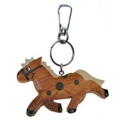 Portachiavi in legno massello multicolore cavallo