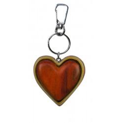 Portachiavi in legno massello multicolore cuore