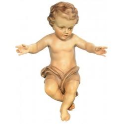 Bambino Gesù scolpito raffinatamente in legno d'acero, statuine presepe scolpite, Alto Adige - colori ad olio