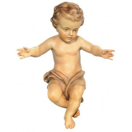 Bambino Gesù scolpito raffinatamente in legno nobile - legno colorato in diverse tonalitá di marrone