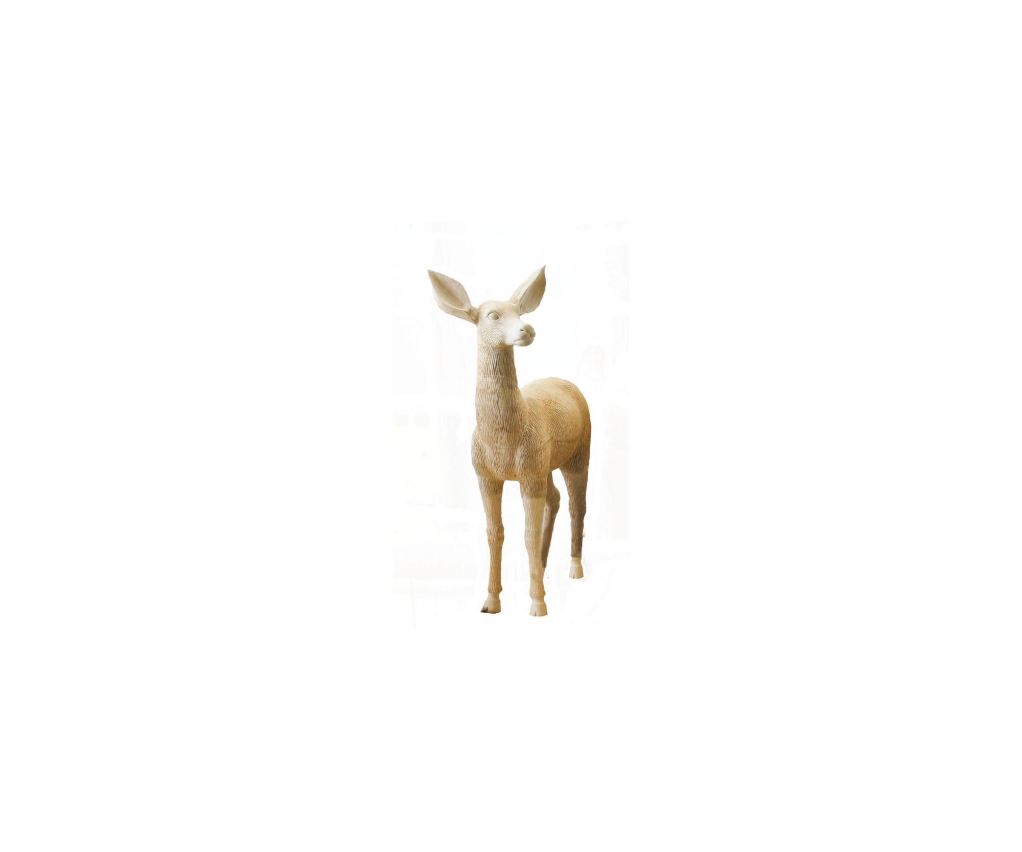 Capriolo in nobile legno di tiglio scolpito - Dolfi Wood