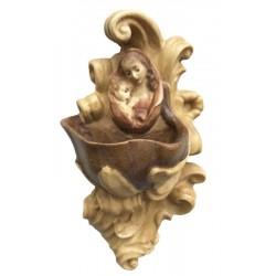 Weihwasser-Becken mit Relief Madonna, Dolfi Engelsköpfe Putten Köpfe, Original Grödner Schnitzereien - Brauntöne lasiert