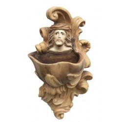 Acquasantiera con volto di Gesù Cristo a rilievo - Dolfi statue religiose vendita, Val Gardena - diverse tonalitá di marrone