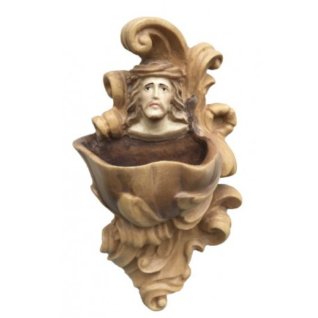 Acquasantiera con Gesù in legno - brunito 3 col.