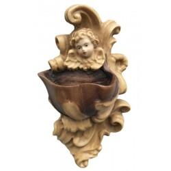 Acquasantiera scolpita finemente con testa d'angelo in legno - Dolfi statuette religiose, Ortisei - diverse tonalitá di marrone