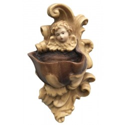 Holy Water Font with Head of Angel in wood carved - Dolfi Christian Garden Statues - Made in Italy - Different brown shades