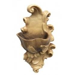 Acquasantiera scolpita finemente in legno nobile - legno colorato in diverse tonalitá di marrone