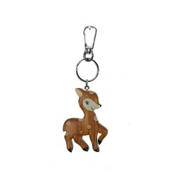 Deer made of wood, keychain