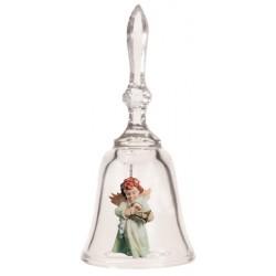 Kristall Glocke mit Engelchen; Dolfi Kristalle-Glas-Glocke mit Holzengel schenken, Schnitzereien Gröden