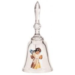 Kristalleglocke mit Schutzengel | Dolfi Sammler Glocken mit Holz Engel, Schnitzereien Grödnertal