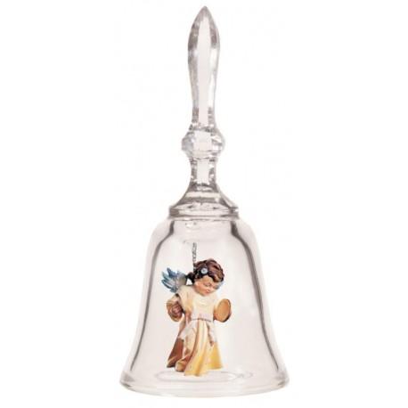 Campanella di vetro con angelo custode in  di legno