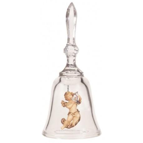 Campana in cristallo con angioletto in legno