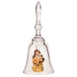 Campana in cristallo con angelo intagliato nel legno