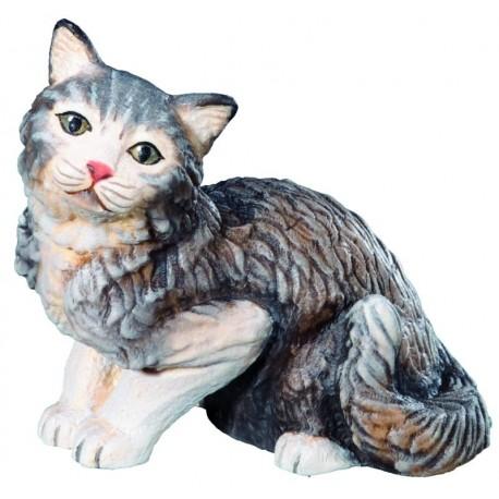 Sitzende Katze aus Ahornholz geschnitzt und handbemalt