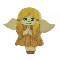 Magnete scolpito in legno angelo custode