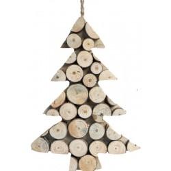 Albero scolpito con rondelle di legno