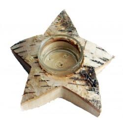 Tealight Star in Birch wood