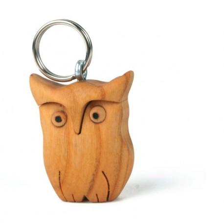 Wooden Keychain Good Luck Owl
