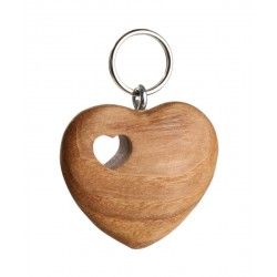 Heart-shaped wooden keychain with carved heart
